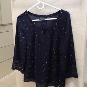 Maeve laser cut navy top star print small